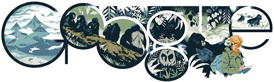 Google'ın Dian Fossey'in 82. doğumgünü anısına yayınladığı Doodle'ı
